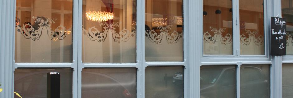 vitre sablé pour un restaurant dans le vieux lille.